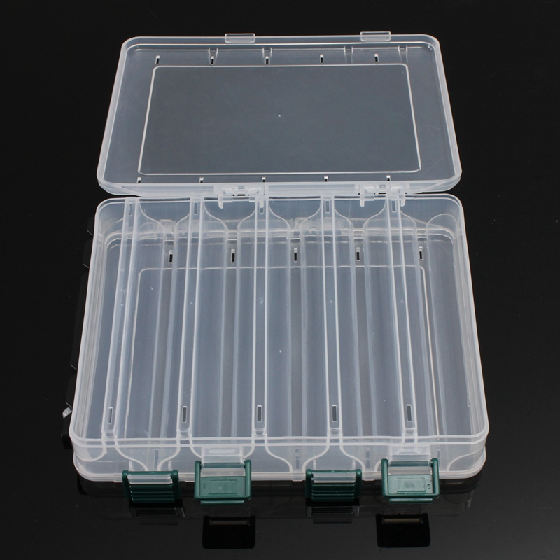 10 Compartments Plastic Fly Fishing Lure Tackle Box Double Sided High Strength Transparent Visible with Drain Hole 20*17*4.7cm