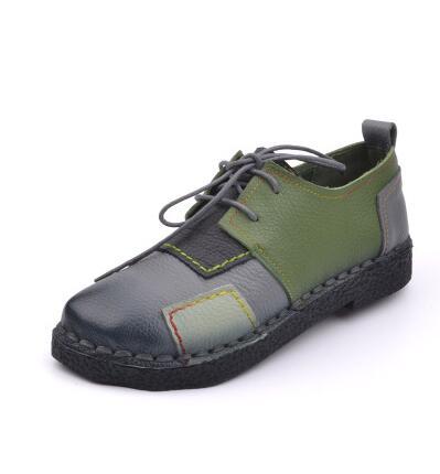 2018 Fashion Leder Damens Schuhes Genuine Leder Fashion Loafers Damens Mixed Farbes Casual Schuhes 6ecf01