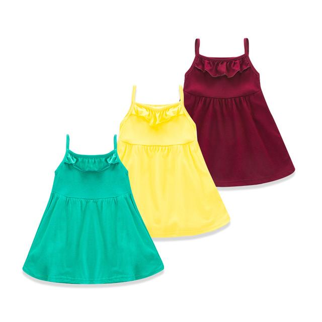 Coreano Muchacha de Los Niños Ropa 2016 Primavera Verano Nuevo Borde Hongo Bebé Precioso Color Sólido Falda de Una Muñeca