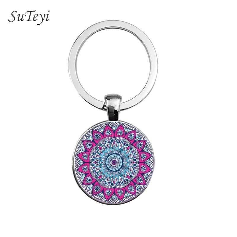 SUTEYIแฟชั่นผู้หญิงกระเป๋าถือพวงกุญแจโยคะChakra Spiritalแก้วKey Chain Mandala Keyแหวนอินเดียพุทธเครื่องประดับสมาธิ