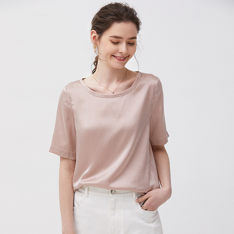 16mm 100 Silk T Shirt Summer Short Sleeve Pullover White Ladies Tops O Neck Loose Casual Tees Streetwear Online Chinese Store in T Shirts from Women 39 s Clothing