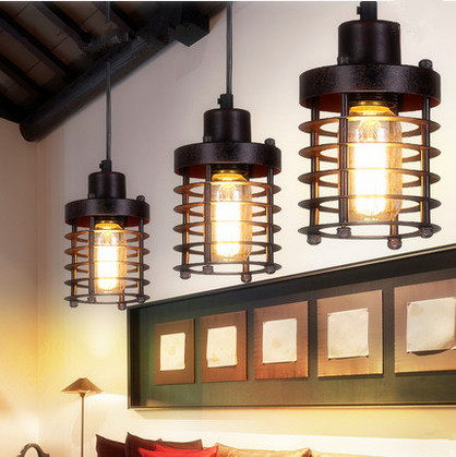 ФОТО American country design black iron art chandeliers European-style simple E27 LED lamp for Restaurant&Bar&corridor&Porch CYDD001