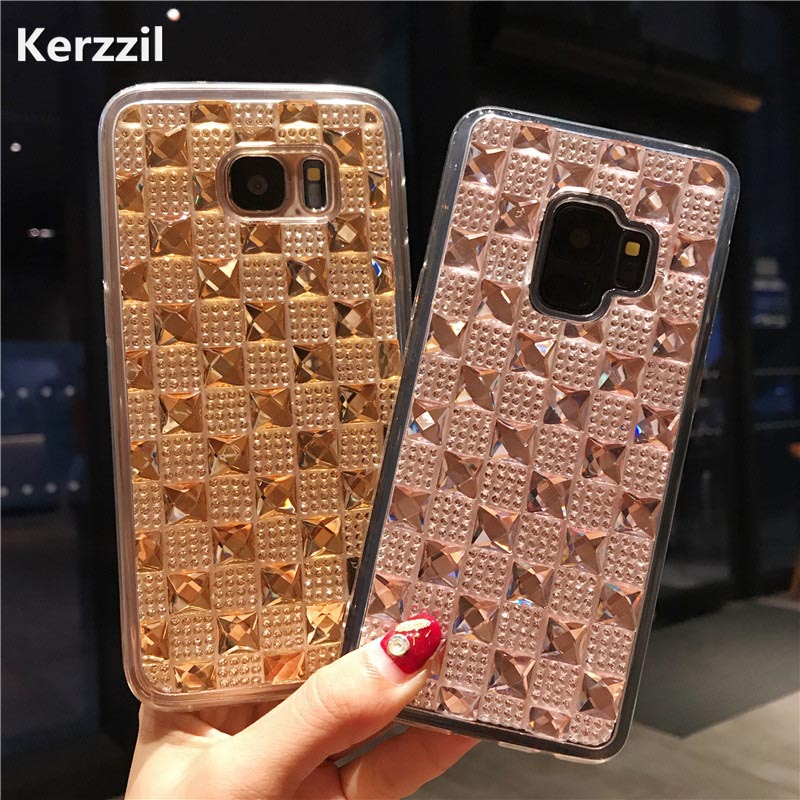 Kerzzil Luxury Fashion Bling Crystal Diamond Case for Samsung Galaxy Note 8 S9 S8 Plus S7 edge Soft TPU Cases Glitter Cover Capa
