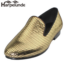 Harpelunde Shoes Men Leather Gold Designer Loafer Flats
