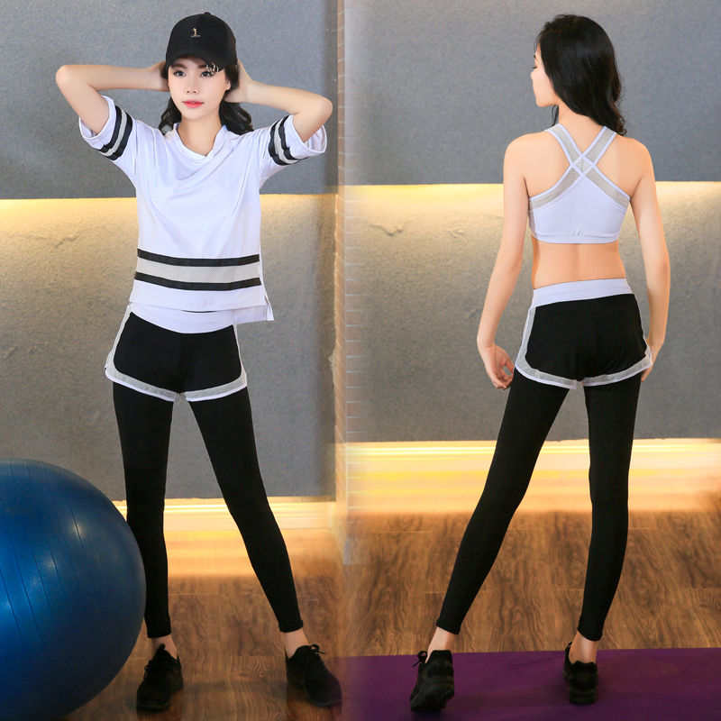 New Plus Size Women Yoga Set Women Fitness T shirt Running Tights Breathable Exercise Sports Bra Outdoor Striped Mesh Sport Suit - 2