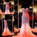 2015 новое поступление сексуальная милая рукавов горный хрусталь из бисера пром платья женские платья бесплатная доставка WH526