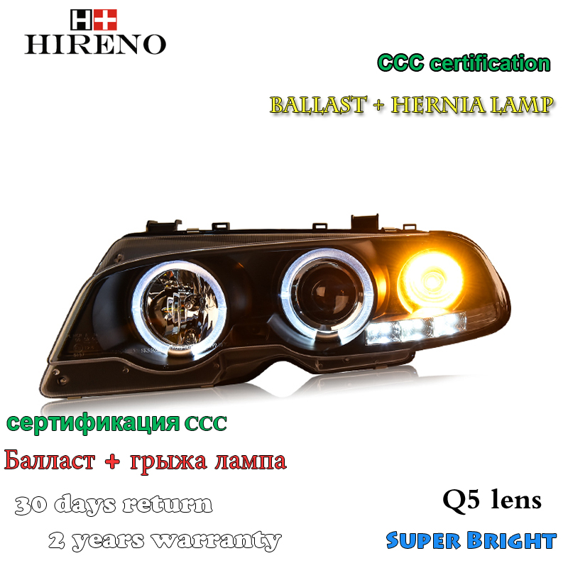 Hireno Car styling Headlamp for 1998-2002 BMW E46 2 Door Headlight Assembly LED DRL Angel Lens Double Beam HID Xenon 2pcs hireno car styling headlamp for 2003 2007 honda accord headlight assembly led drl angel lens double beam hid xenon 2pcs