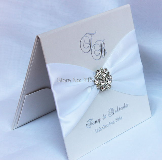 buckle invitation invitations silver white brooch wedding ribbon gold collection