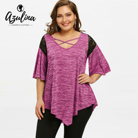 AZULINA 2018 New Autumn Plus Size Flare Sleeve T Shirt Women Asymmetrical Loose Tunic T Shirts