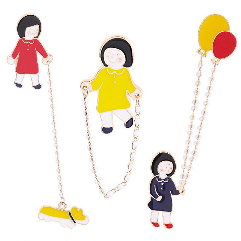 Glorious New Little Girl Walking The Dog Jump Rope Balloon Chain Pines Para Ropa Decoration Pin Badge Badge For Backpack Cartoon C1418-to Bracing Up The Whole System And Strengthening It Badges