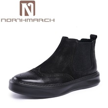 NORTHMARCH Winter Boots New Men'S Fashion Classic Chelsea Ankle Boots Autumn British Style Comfortable Genuine Leather Men Shose(China)
