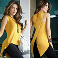 New Summer Blouse 2017 Women Shirt Asymmetry Fashion Sleeveless Long Solid Yellow Color O-neck Women Blouse Casual Shirt