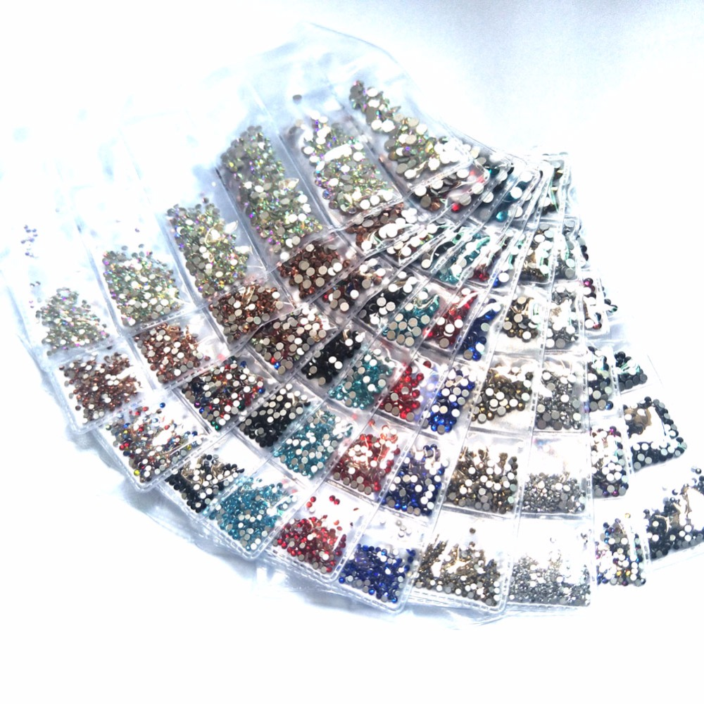 Mix 6 Size Nail Rhinestones for Nails 3D Nail Art Crystals Gems Charms DIY Decorations Flatback Glass Strass Stone Jewelry AB ss3 to ss10 mix size rhinestones for nails glass nail rhinestones strass nail art decorations clear 3d nail art manicure mjz0028