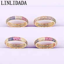10Pcs Women Fashion Ring Jewelry Colorful cz eternity band ring Charm Cubic Zirconia Pave round circle
