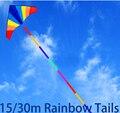 O envio gratuito de alta qualidade 15 m 30 m grande pipa caudas cores windsocks kite nylon ripstop tecido pipa águia voando pipa polvo