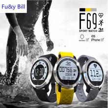 Спорт плавание водонепроницаемый bluetooth smartwatch f69 пульсометр умные часы для apple iphone android монитор сердечного ритма часы