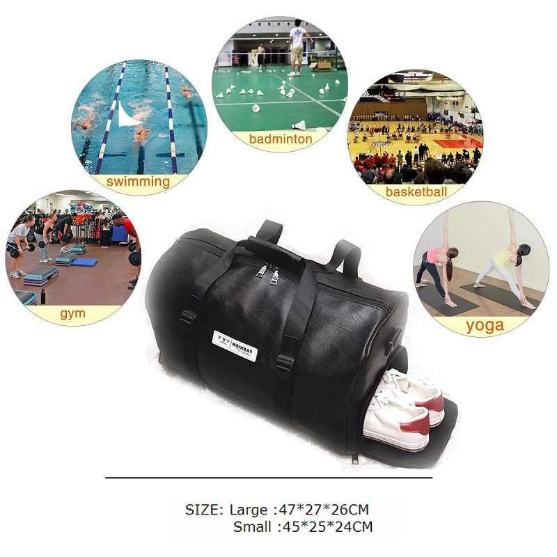 Hitam Gym Tas PU Kulit Besar Olahraga Tas Pria Wanita Kebugaran Kompartemen Sepatu Tahan Air Perjalanan Pelatihan