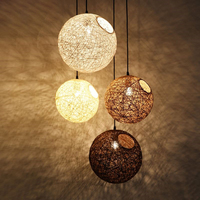 Modern Ma Rattan Ball Wicker LED Pendant Light For kids room Christmas Xmas Wedding baby room decoration Party bar aisle lamps