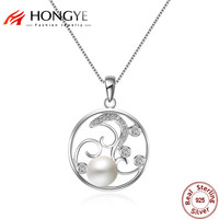 HONGYE Luxurious Elegant 925 Sterling Silver Necklace Pendant Round Sea Pearl Inlaid Zircon Pendant Clavicle Chain