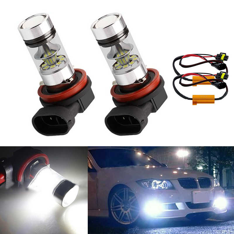 2x H8 H11 Car Canbus Bulbs Reflector Mirror Design Fog Lights No Error For BMW E71 X6 M E70 X5 E83 F25 x3
