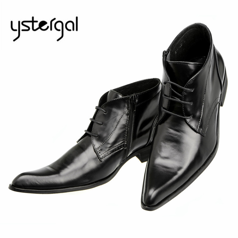 YSTERGAL Black Classic Men Ankle Boots Genuine Leather Flat Botas Hombre Pointed Toe Lace Up Cowboy Boots Wedding Dress Shoes fashion genuine leather mens ankle boots pointed toe lace up wedding dress shoes safety shoes men military boots mans footwear