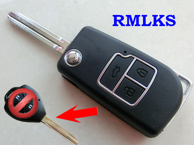 RMLKS New Style 2 3 Button Flip Folding Remote Key Case Shell Fit For Toyota Camry Corolla Reiz RAV4 Key Fob Cover Uncut Blade цена
