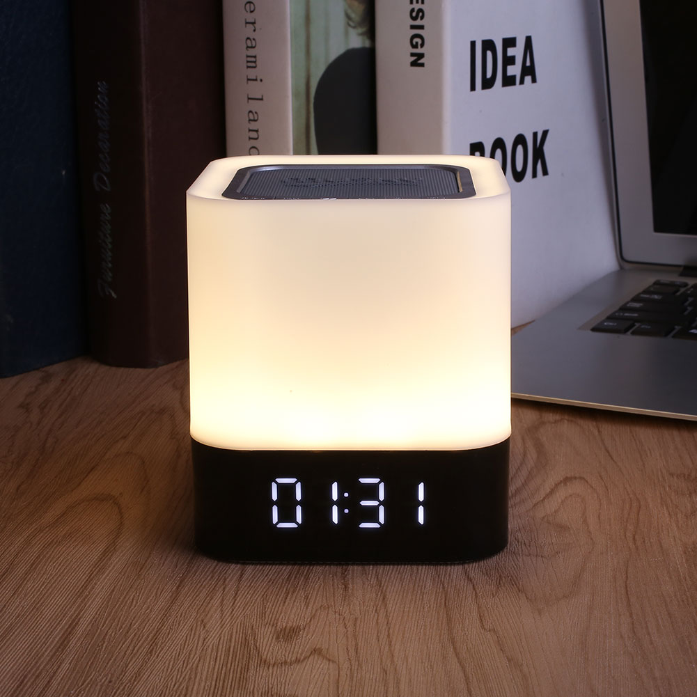 Portable Wireless Bluetooth Speaker Touch LED Lamp Alarm Phonecall Handsfree  Night Light Luminaria kmashi led flame lamp night light bluetooth wireless speaker touch soft light for iphone android christmas gift mp3 music player