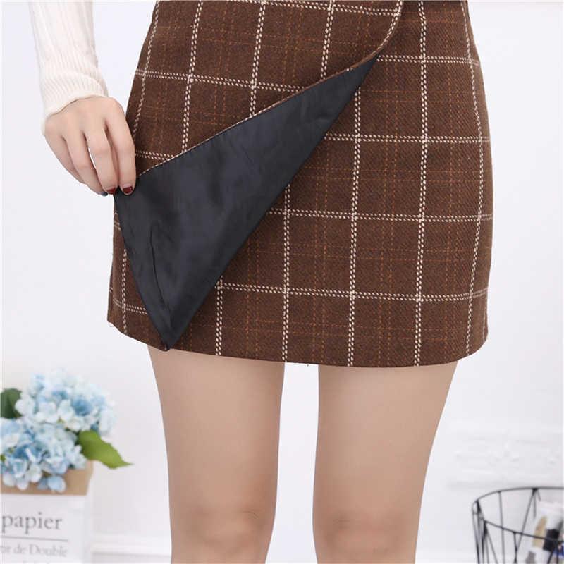 8e75b5f849 ... Polleras cortas a cuadros para mujer OllyMurs coreanas Preppy moda  Retro cintura alta falda Otoño Invierno ...