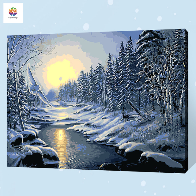 digital oil painting by number forest sunset winter snow acrylic