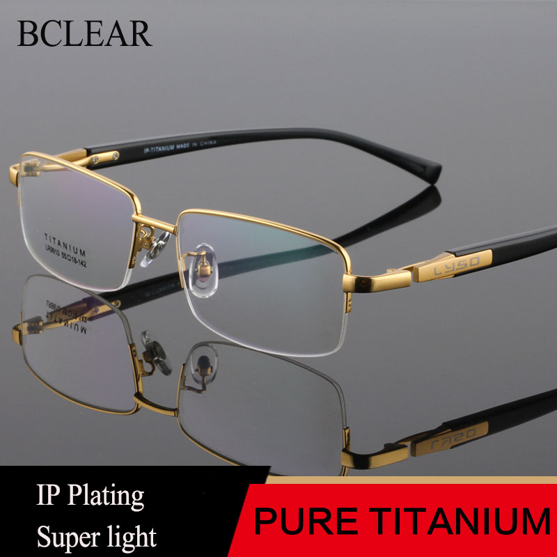 BCLEAR Men High Quality Pure Titanium Eye Glasses Frames Acetate Temple Legs Gold Silver Business Luxury Spectacle Frame Eyewear