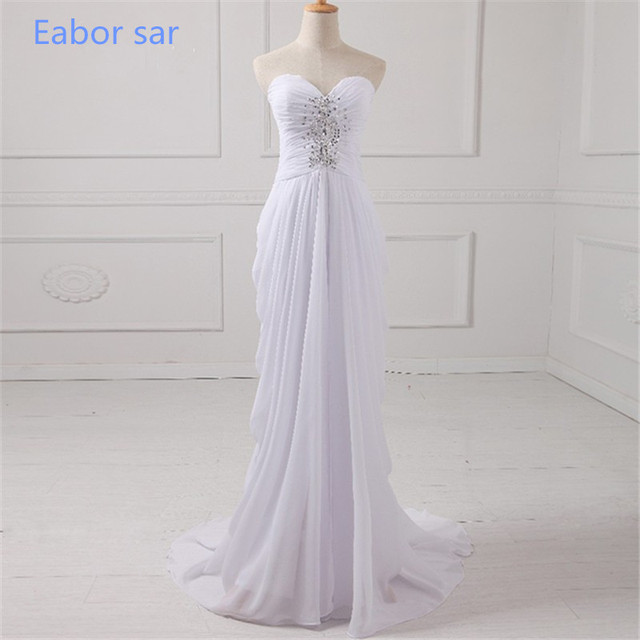 White Chiffon A Line Prom Dresses Sweetheart Rhinestones Top Lace Up