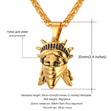 American Rebel Statue Of Liberty Pendant Necklace Gold Color Stainless Steel Men/Women Chain US Symbol Jewelry P765