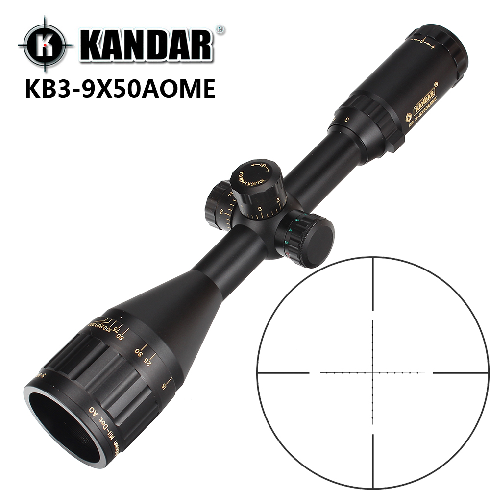 KANDAR Gold Edition 3-9x50 AOME Glass Etched Mil-dot Reticle Locking RifleScope Hunting Rifle Scope Tactical Optical Sight