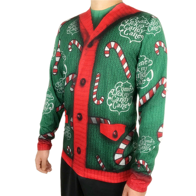 Funny Candy Cane Cardigan Printed Ugly Christmas T Shirt for Men Cute Men 39 s Long Sleeve Party Christmas T Shirts Plus Size in T Shirts from Men 39 s Clothing