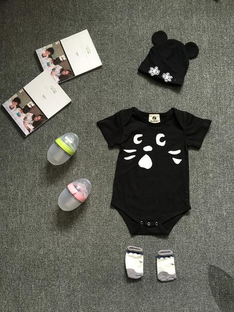 Preax Crianças Meninos Meninas Recém-nascidas Do Bebê Bodysuits Verão Dos Desenhos Animados da Roupa do bebê da menina do menino roupa infantil gato preto macacões macacão