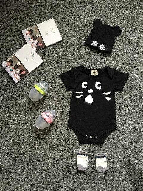 Preax Kids Newborn Girls Boys Baby Bodysuits Summer Cartoon Clothing baby boy girl clothes infant black cat jumpsuits overalls