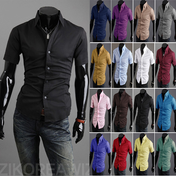 69df7b293681 Free Shipping 2013 Short-sleeved shirt men's shirts half sleeve Korean  pointed collar tide summer Menswear 16colors size: M-XXL