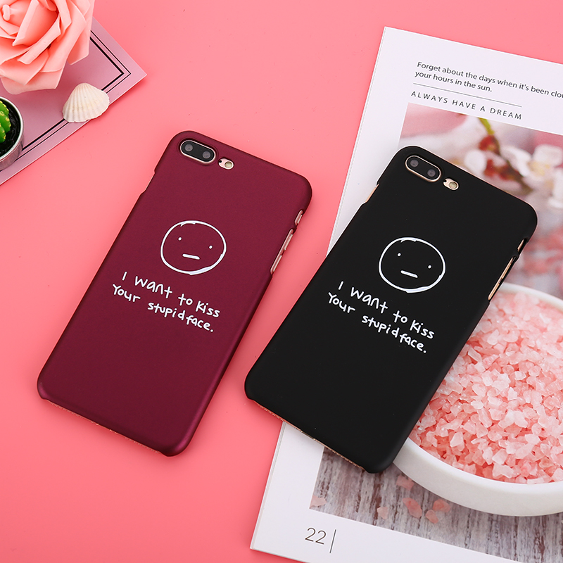 Wine Red Color Phone Case For iphone 7 Case Couples Letter Cartoon Hard PC Back Cover For iphone 7 Plus 6 6S 8 Plus X Slim Capa