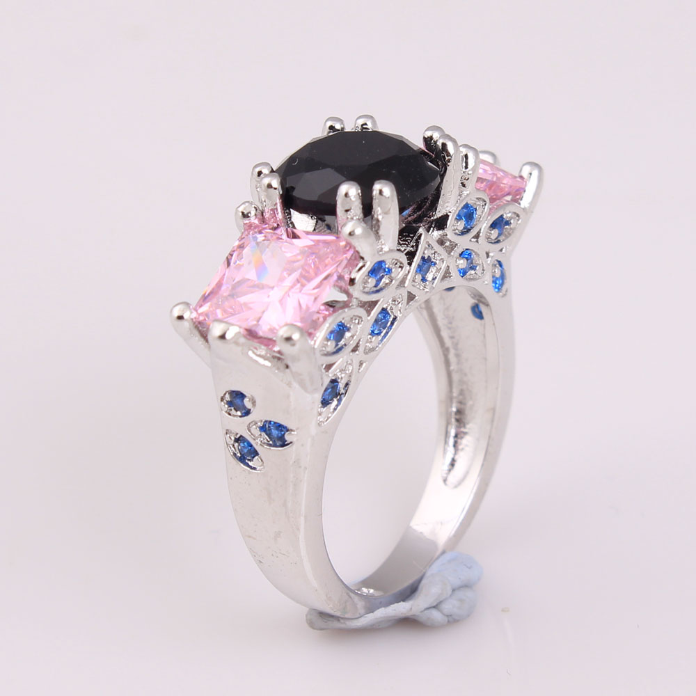 large black zircon wedding ring square fashion lady jewelry finger ring with pink blue cz us 7 8 9 vintage design rings