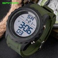 SANDA Fashion Army Military Sport Watch Men Casual Chronograph Rubber Watch Waterproof LED Digital Watch Relojes