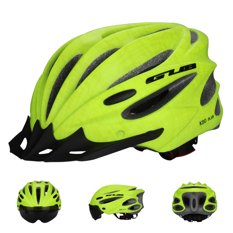 Goggles Cycling Helmet Ultralight Integrally-molded MTB Road Mountain TT Bike Helmet With Magnetic UV Glasses