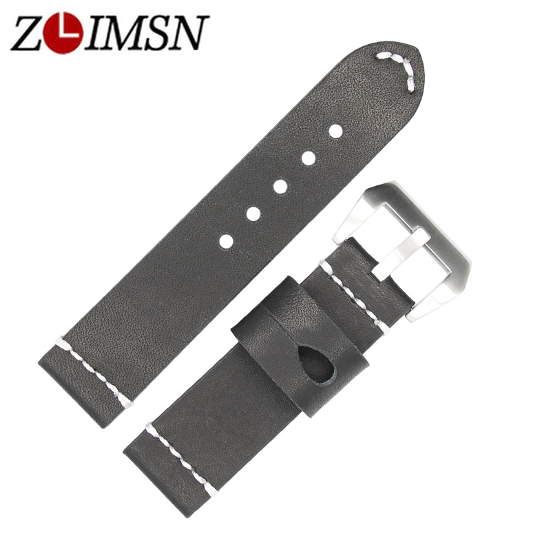 ZLIMSN Genuine Leather Strap Bracelet 24mm Watch Band Strap black White line Suitable for Panerai watch accessories Watchbands цена