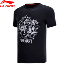 b65fb0fc368f4 Li-Ning A Tendência T-Shirt dos homens Conforto Alemanha Preto Camisetas  100%