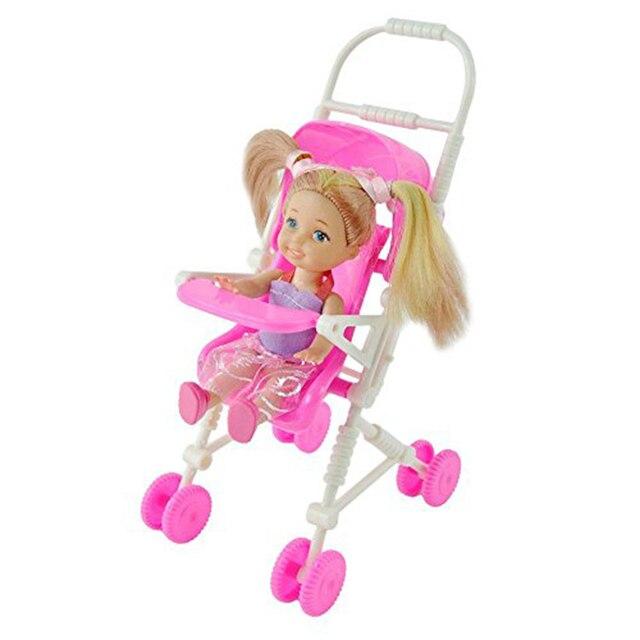 Красивый Розовый Детская Коляска Детская Коляска Тележка Детской Мебели для Barbie Doll Рождество Игрушки Подарки для Девочки