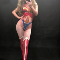 Wonder Woman Sexy Jumpsuit Nightclub Party Performance Celebration Dancer Singer Stage Wear Costumes Female 3D Printing Bodysuit