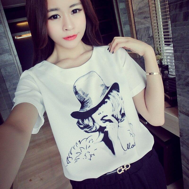 2018 Summer Women's T-shirts New Harajuku Personality Printed Short-sleeved Students Top Loose Slim T-shirt Female 4