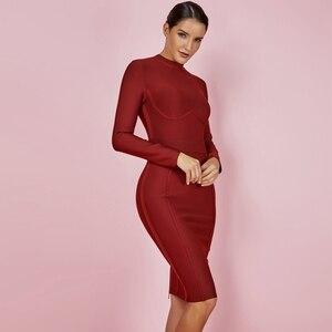 Image 5 - Ocstrade נשים מסיבת חג המולד 2019 חורף Vestido חדש תחבושת שמלות גבוהה צוואר סגול ריון סקסי תחבושת שמלה ארוך שרוול
