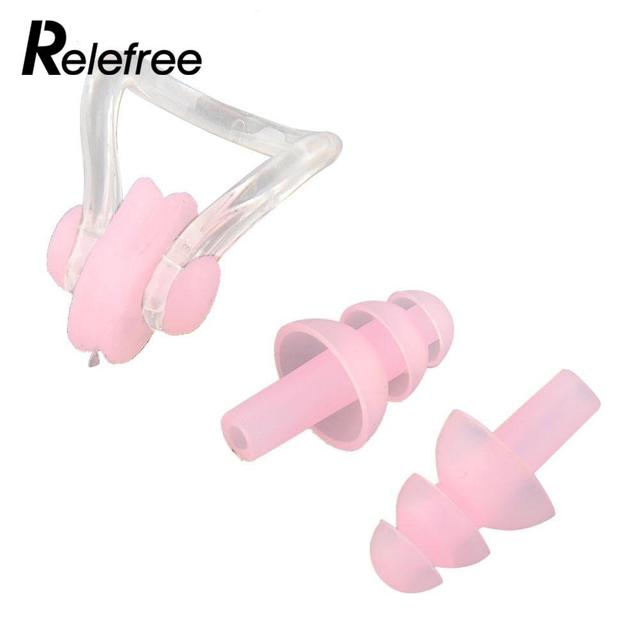 381ef69da Relefree À Prova D  Água Cogumelo 2 PCS Tampão de Silicone Suave Natação  Clipe Nasal
