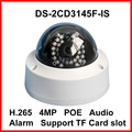 Multi-Language 4MP Mini POE Camera DS-2CD3145F-IS Network Webcam Support Audio Alarm Smart IP Camera CCTV Digital Dome Camera