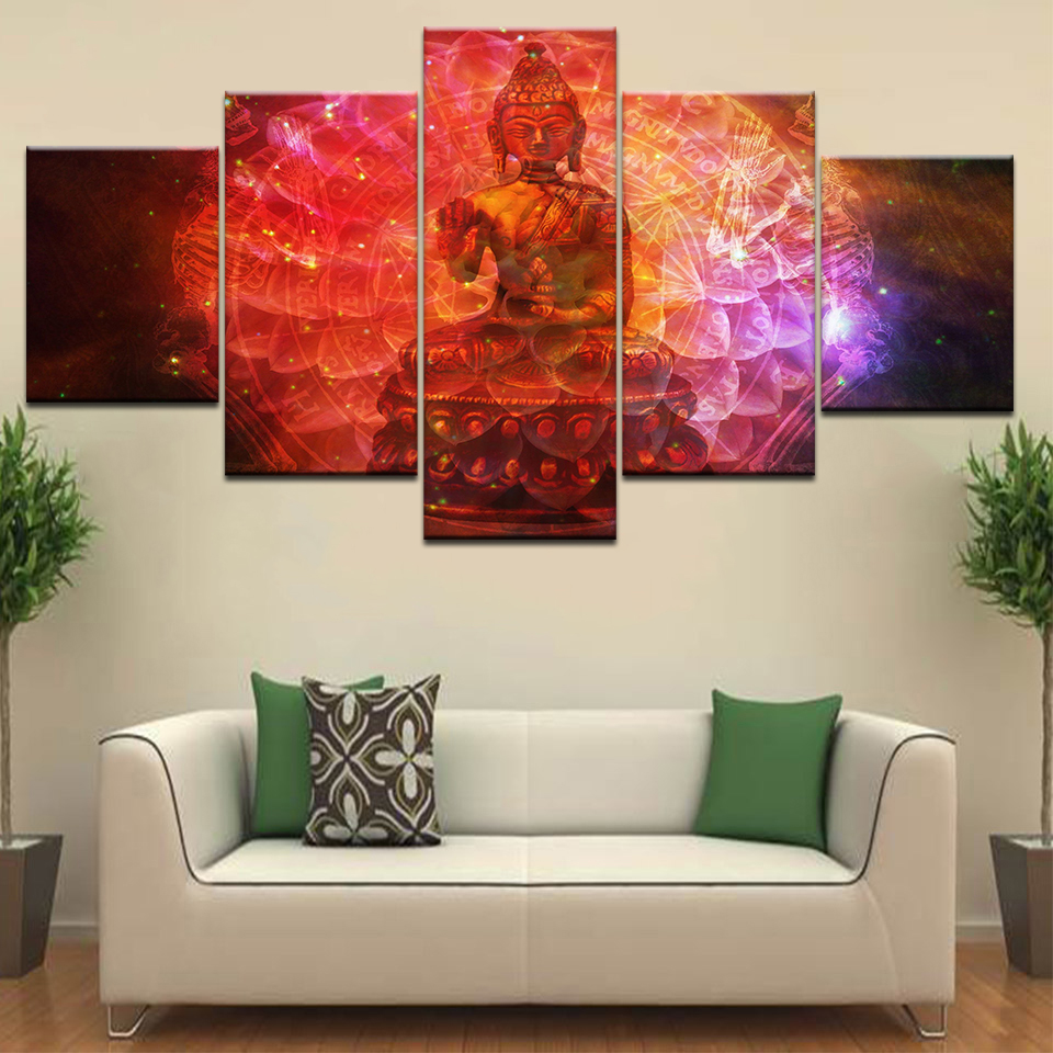 Insta Buddha The statue 5 Panel HD Print wall posters Canvas Art Painting For home living room decoration